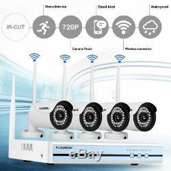 4ch Système De Vidéosurveillance Sans Fil Cctv 1080p Dvr Wlan 720p Ip Système De Sécurité Nvr Kit + Disque Dur 1 To