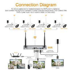 8ch Enregistreur Nvr Kit Sans Fil 1080p Wifi Cctv Sécurité Extérieure Système De Caméra Ip