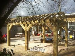 Abri De Jardin En Bois, Structure, Gazebo, Bain À Remous, Kit Auvent De Port De Voiture 4,6 M X 3 M