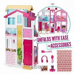 Barbie Dly32 Domaine De Trois Étages Maison De Ville Colorée Et Doll Bright House