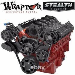 Black Chevy Ls Serpentine Pulley Kit Ac & Power Steering Ls1 Ls2 Ls3 Ls6