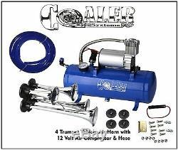 Calibre De Réservoir Bleu De Kit De Compresseur De Corne De L'air 12v De La Trompette 4 Pour Le Camion De Voiture