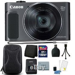 Canon Powershot Sx620 Hs 20.2mp Zoom 25x Appareil Photo Numérique Wifi 32gb Kit D'accessoires
