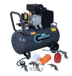 Compresseur D'air Mobile Switzer 50 Litres 2.5hp 8 Bar Avec Kit De Pulvérisation 5pc Ac004