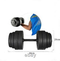 Deluxe 30kg Haltères Paire De Poids Barbell / Dumbells Body Building Set Gym Kit