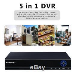 Floureon Cctv 4pcs 5mp Surveillance Ip Cam Kit 4k Uhd Dvr Système Extérieur Système À La Maison