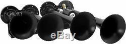 Fort 4 / Quad Trompette Train Sonore Air Horn Système Kit Complet 1 Gallon Réservoir / Compresseur