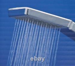 Grand Chrome Dual 2 Mixer Shower Heads Rail Hose Riser Kit Luxury Bathroom Set