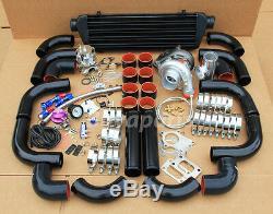 Jdm 12 Pcs Kit Universel T3 / T4 Turbo Turbocompresseur + Intercooler + Wastegate Noir