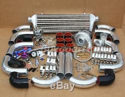Jdm 12 Pièces Universal T3 / T4 Turbo Kit Turbocompresseur + Intercooler + Wastegate Poli