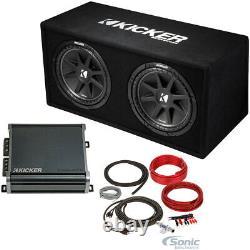 Kicker 43dc122 Dual 12 Subwoofers Dans La Sous-boîte Ventilée Boîtier + Amplificateur + Kit D'amplificateur