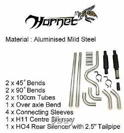 Kit D'échappement Adaptable Hornet 2 Bore Avec 2,5 Embouts En Acier Inoxydable