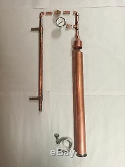 Kit De Fûts De Bière Diy 2 Tuyaux En Cuivre Pot De Moonshine Pot Toujours Distillant Colonne Tri Clamp