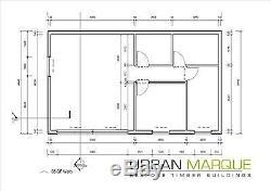 Kit De Maison À Montage En Bois À Ossature Bois De 3 Lits. Conforme Aux Règles De La Maison Mobile