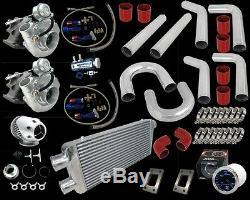 Kit De Tuyauterie Rouge Pour Chargeur Turbo Universel Bricolage T3 / T4 Double Turbo 800 V6 V8 V10