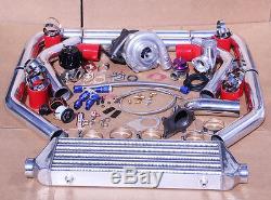 Kit Jdm Universel T3 / T4 Turbo Turbocompresseur + Refroidisseur Intermédiaire + Soupape De Décharge + Bov + Manomètre De Suralimentation