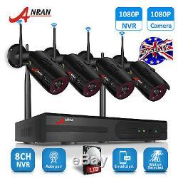 Kits De La Caméra 1080p 1tb Nvr De Système De Sécurité À La Maison Sans Fil Wifi 8ch Cctv D'ip Extérieur