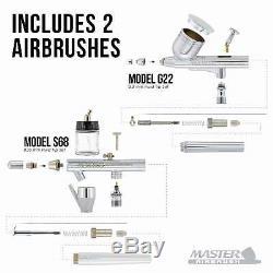 Maître Airbrush Kit Compresseur Avec 2, 6 Aérographes Peinture Acrylique Couleurs Set Art