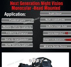 Maître Lunettes De Vision Nocturne Head Mount Kit Monoculaires Security Tracker Ir Gen