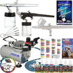 Master 3 Airbrush & Air Compressor Kit, Kit De Peinture Acrylique 6 Couleurs Primaires, Tuyau