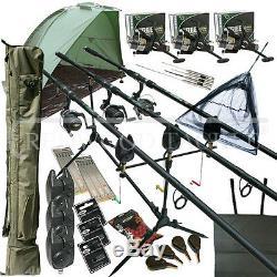 Mega Carp Set De Pêche Set Set Rods Rels Alarmes Appâts Attirons Outils Tapis