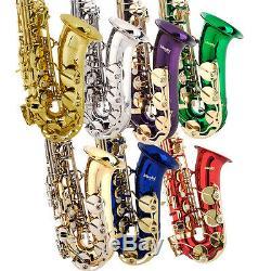 Mendini Eb Alto Saxophone Sax Or Argent Bleu Vert Violet Rouge + Kit Soins