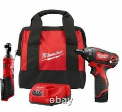 Milwaukee 2401-21r M12 12v Cordless 3/8 In. Ratchet & Screwdriver Kit With Charger
