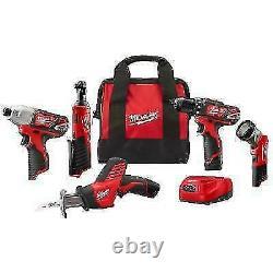 Milwaukee 2498-25 M12 12v Cordless Kit Drill Impact Ratchet (5-tool) Nouveau