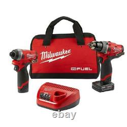 Milwaukee 2598-22 M12 Fuel 2-tool Hammer Drill And Hex Impact Driver Kit New