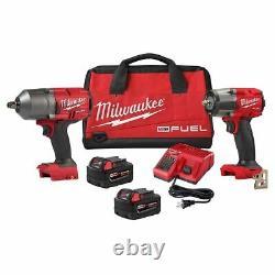 Milwaukee 2988-22 M18 Carburant 3/8 Turque Moyenne Et 1/2 Kit De Clé D'impact Haute Torque
