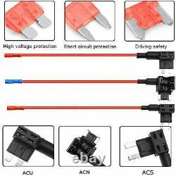 Mini Usb + Micro Usb Dash Cam Hardwire Charger Kit Avec Acu, Acs & Acn Plugs Fuse