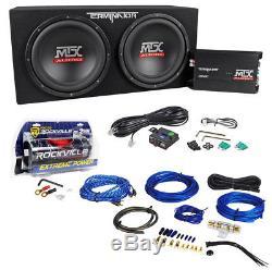 Mtx Terminator Tnp212d2 Dual 12 Subwoofers + Boîtier + Kit Amp + 2 Condensateurs Farad