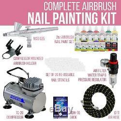 Nail Art Airbrush Kit-set-compresseur D'air-peinture-20pk Pochoir Conception Double Action
