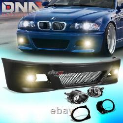 Pour 99-06 E46 3series Non-m M3 Style Abs Front Bumper Cover Body Kit+fog Light