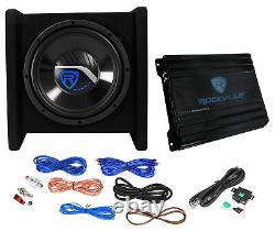 Rockville Rv10.1d 500w 10 Loaded Car Subwoofer Enclosure+mono Amplificateur+amp Kit