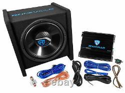 Rockville Rv12.1c 600w 12 Loaded Car Subwoofer Enclosure+mono Amplificateur+amp Kit