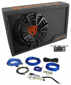 Rockville Rws12ca Slim 1200 Watt 12 Powered Caisson De Graves Boîtier + Fil Kit