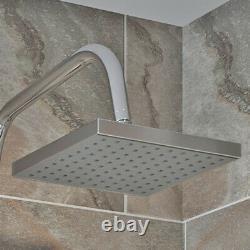 Salle De Bains Square Shower Mixer Waterfall Tap Kit Riser Rail Hose Chrome Twin Heads