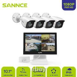 Sannce 10.1lcd Moniteur 4ch 5in1 Dvr 1080p Caméra D'extérieur Cctv Kit De Sécurité Ip66