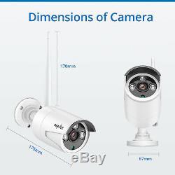 Sannce Cctv Sans Fil 1080p 8ch Nvr Ip Caméras Système Kit Ip66 Ir Nuit De Sécurité