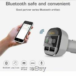 Sans Fil Bluetooth Mains Libres Voiture Transmetteur Fm Lecteur Mp3 Double Kit Chargeur Usb