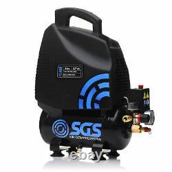 Sgs 6 Litres Oil-less Direct Drive Air Compressor & 5 Piece Tool Kit 5.7cfm, 1