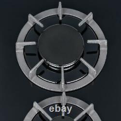 Sia Bgh30bl 30cm Gaz Noir Sur Verre Domino Hob Avec Supports En Fonte Et Kit Gpl