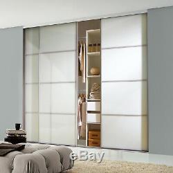 Silver Frame Blanc Doux Verre 4 Panneau Coulissant Armoire Portes Kit Livraison Gratuite
