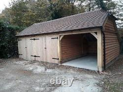 Three Bay Oak Fronted Catslide Garage Kit. 9m X 5.3m