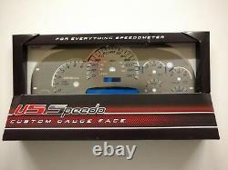 Us Speedo Stainless Steel Gauge Face Kit Blue Text & Matching Needles Gm 03-06