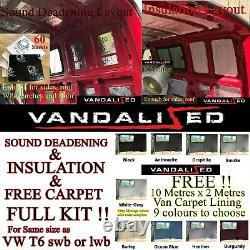 Van Sound Deadening & Insulation Kit & Tapis Gratuit Doublure Vw T 2 2.5 3 4 T5 T6