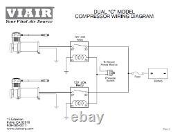 Viair Dual Chrome 444c 200 Psi Max Air Compressor Kit Relais Gratuits Et Commutateur Psi
